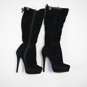 High Heel Black Velor Boots LILIANA